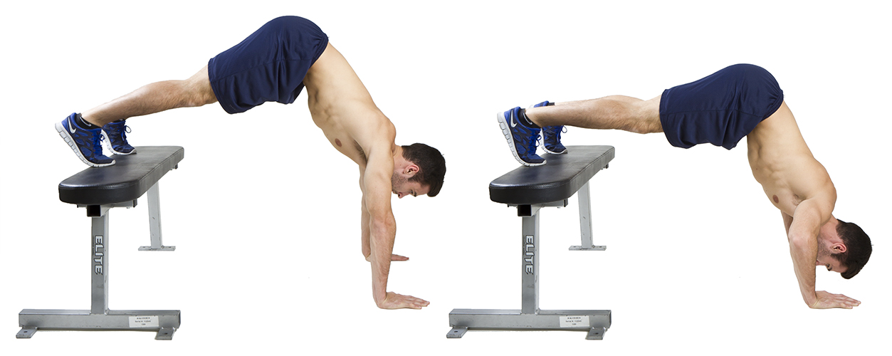 HIIT Exercise: How To Do Feet Elevated Pike Push Ups