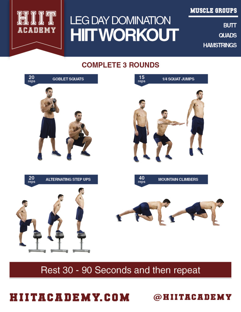 Intense Leg Day HIIT Workout | HIIT Academy | HIIT ...