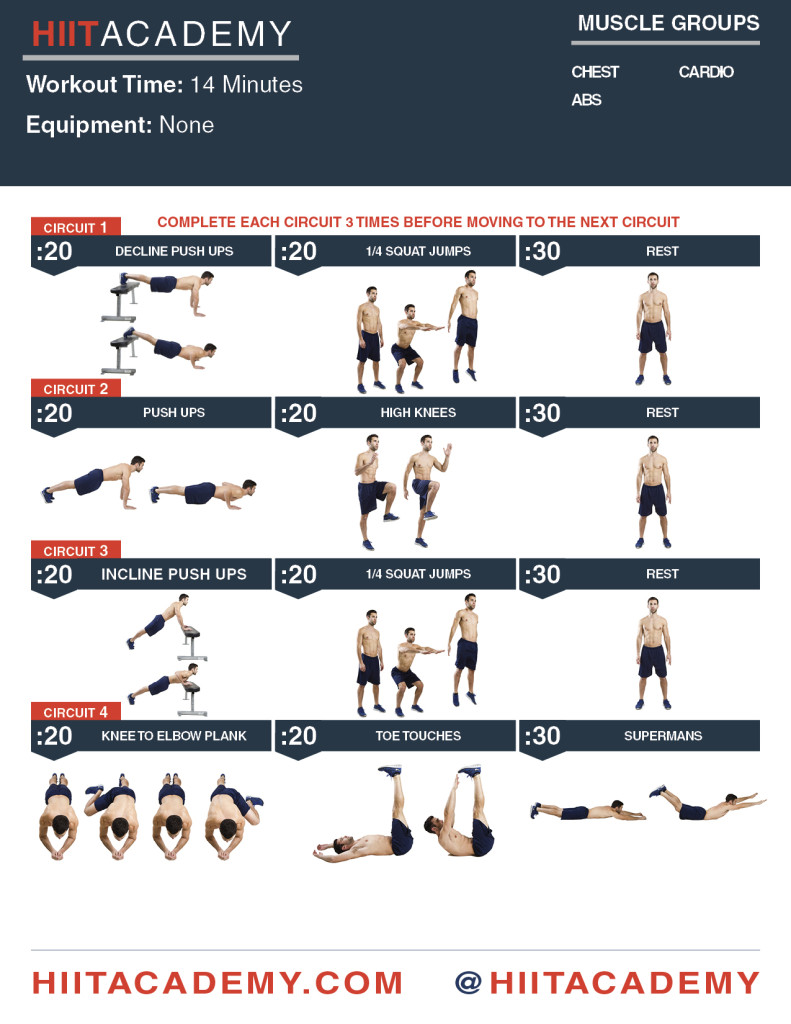 Chest, Cardio, Ab HIIT Workout